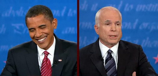 barack obama laughs john mccain watery eyes