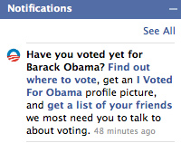 facebook notification election vote obama campaign app