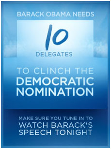 10 delegates to nomination for Obama