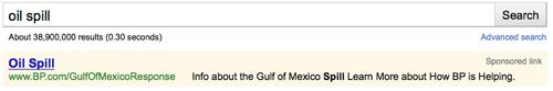 bp oil spill google ad adwords gulf