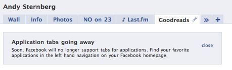 Facebook app profile tab