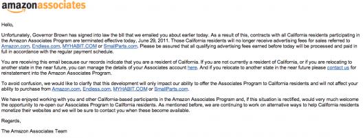 california amazon associates contracts terminated