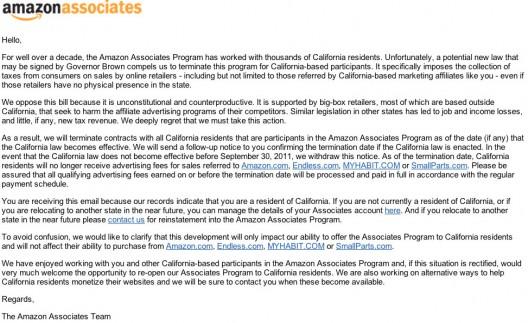amazon associates california law termination
