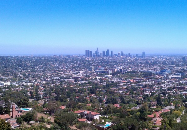 view of barnsdall park and downtown los angeles from griffith park